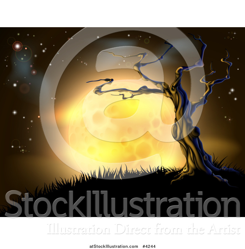 Vector Illustration of a Creepy Dead Tree on a Hill Against a Full.