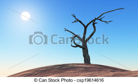 Clipart of Dead Tree on a Hill.