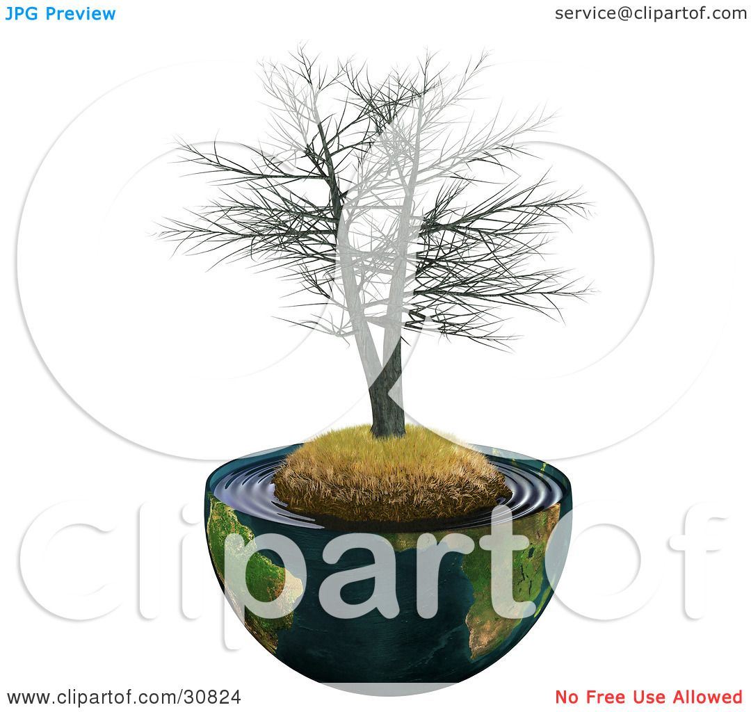 Clipart Illustration of a Dead Realistic 3d Tree On A Hill With.