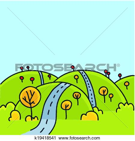Clipart of Hill Road k19418541.