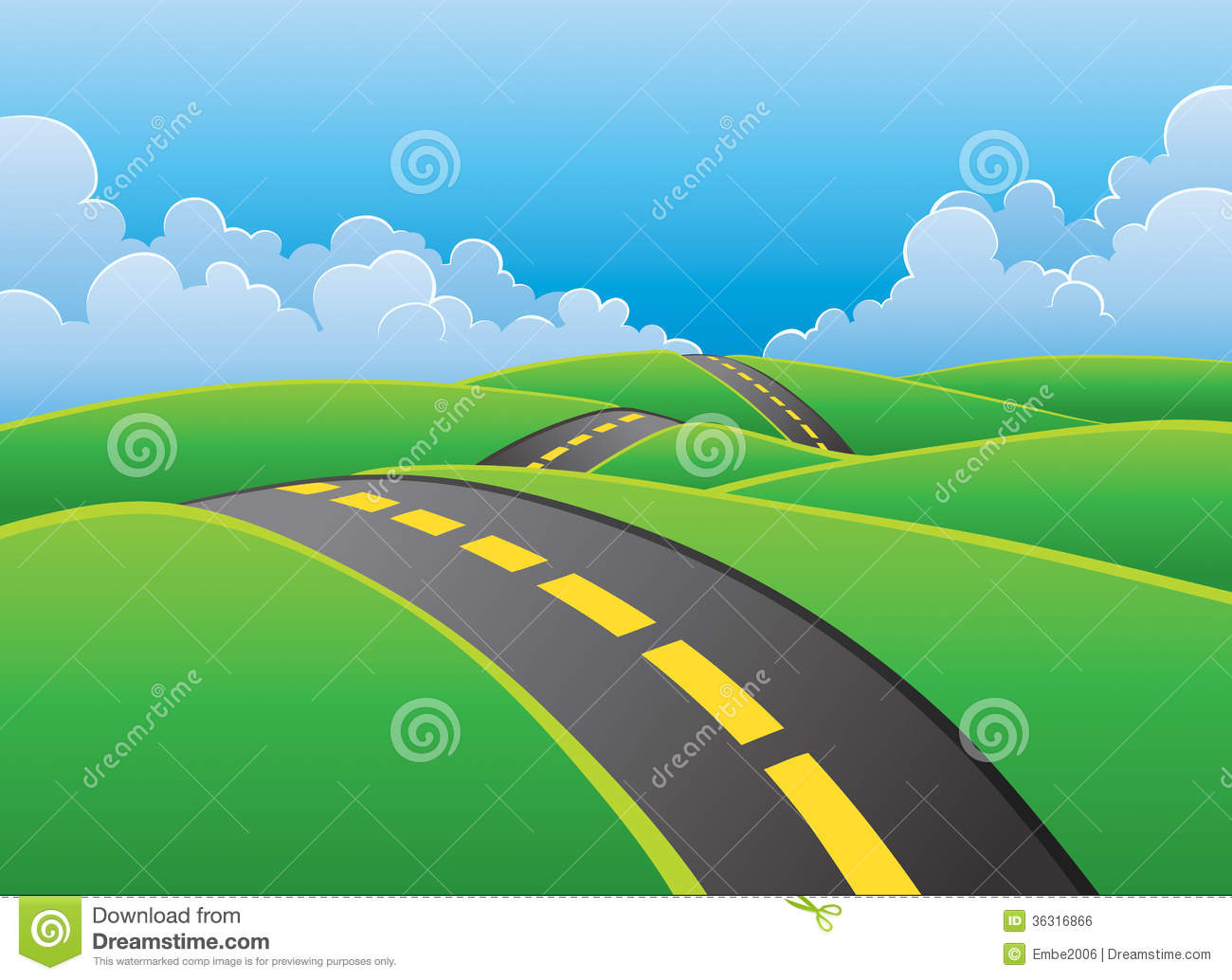 Over the hill road clipart.