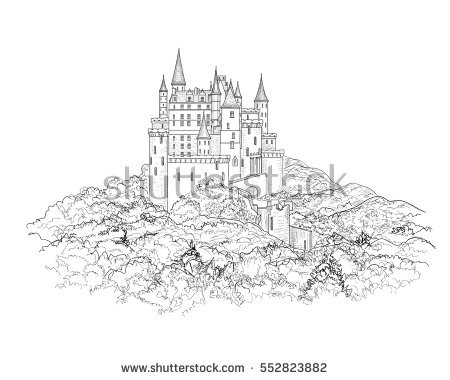 Castle Outline Stock Images, Royalty.