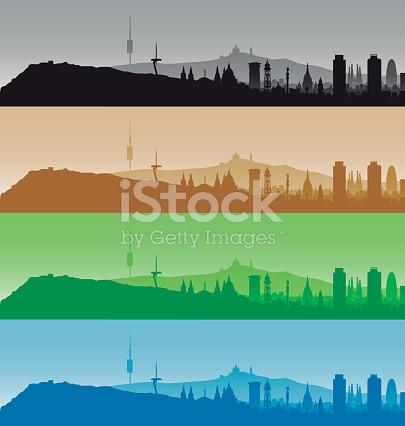 Barcelona Highly Detailed Four Color Skyline stock vector art.