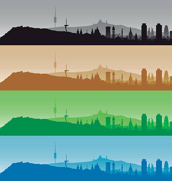 Barcelona Spain City Skyline Silhouette Clip Art, Vector Images.