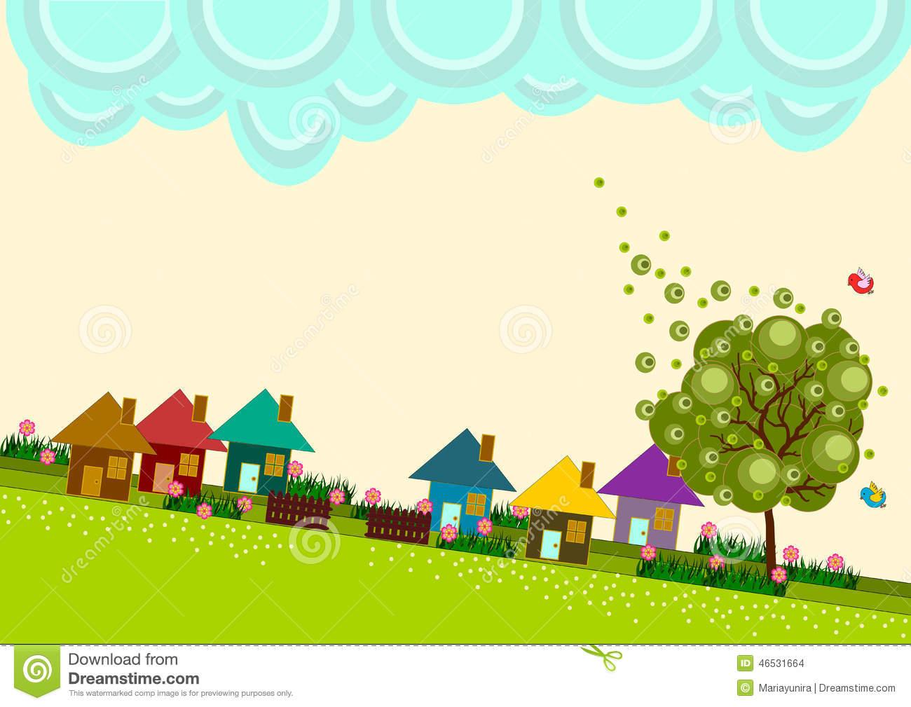 Small Town Village Skyline Stock Illustration.