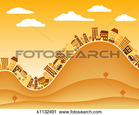 Clipart of Hill town k1132491.