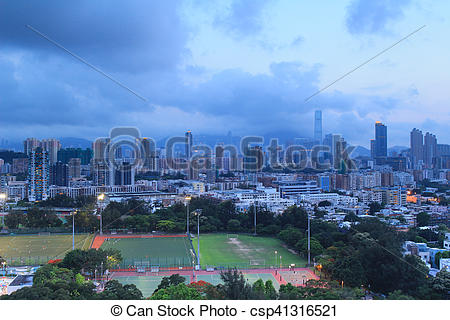 Stock Photo of at Checker board Hill view of hk.