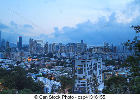 Stock Images of at Checker board Hill view of hk.