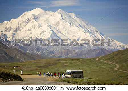 Stock Photo of Visitors off ARAMARK tour bus @ Stony Hill view Mt.