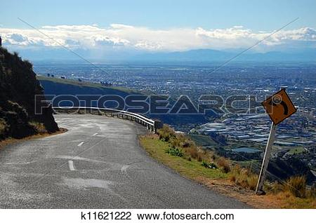 Stock Photo of Hill view from road turning left k11621222.