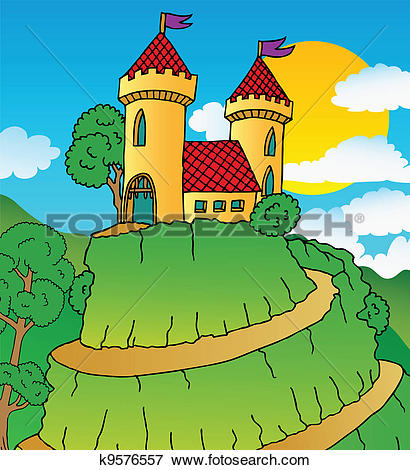 Clip Art of Castle on hill k9576557.