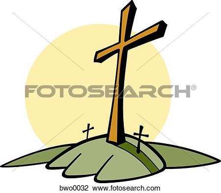 Clip Art of Three crosses on a hill bwo0032.