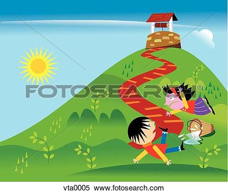 Stock Illustration of Jack and Jill falling down the hill vta0005.