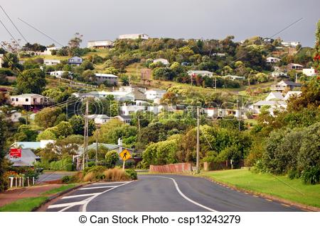 Picture of Town road hill view rural, Waiheke Island, New Zealand.