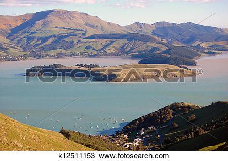 Stock Photo of Lyttelton harbor hill view k12511153.