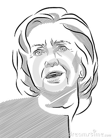 Hillary Clinton Portrait Vector Outline Illustration Editorial.