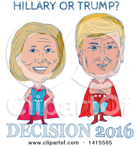 Clipart of a Retro Face off Between Hillary Clinton and Donald.