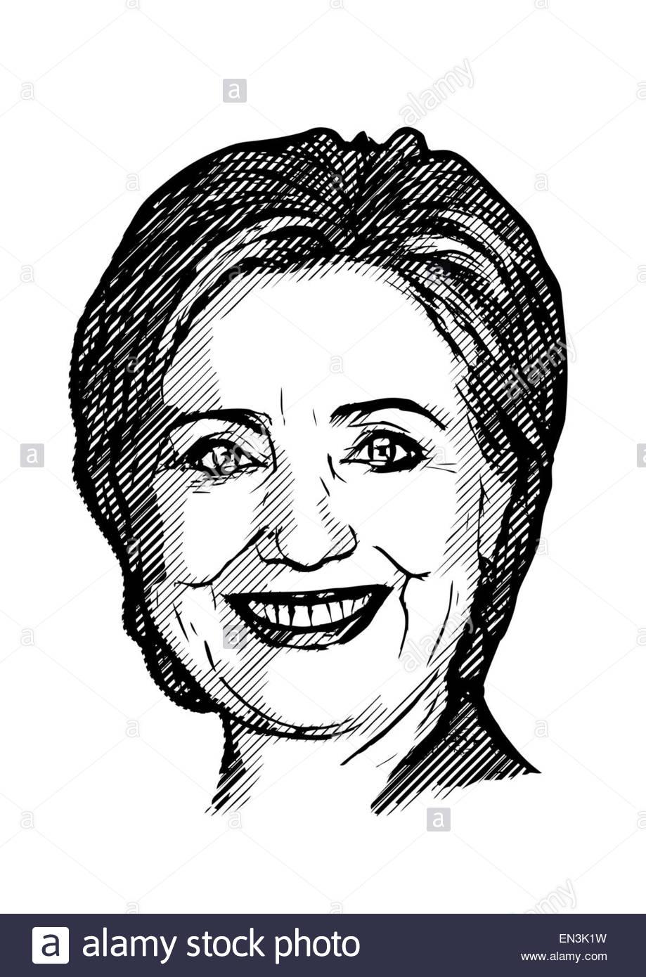 Hillary Clinton Illustration Stock Photo, Royalty Free Image.