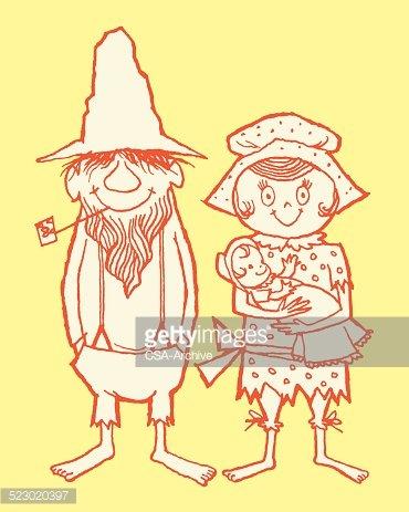 Hillbilly Family Clipart Image.