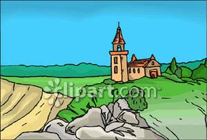 Church on a hill clipart.