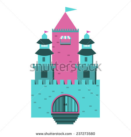 Castle Tower Illustration Cartoon Old Medieval Stock Vector.