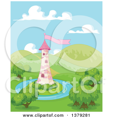 Clipart Pink Fairy Tale Tower With Bushes And A Flag.