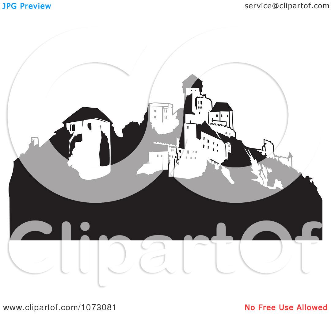 Clipart Black And White Hillside Castle.