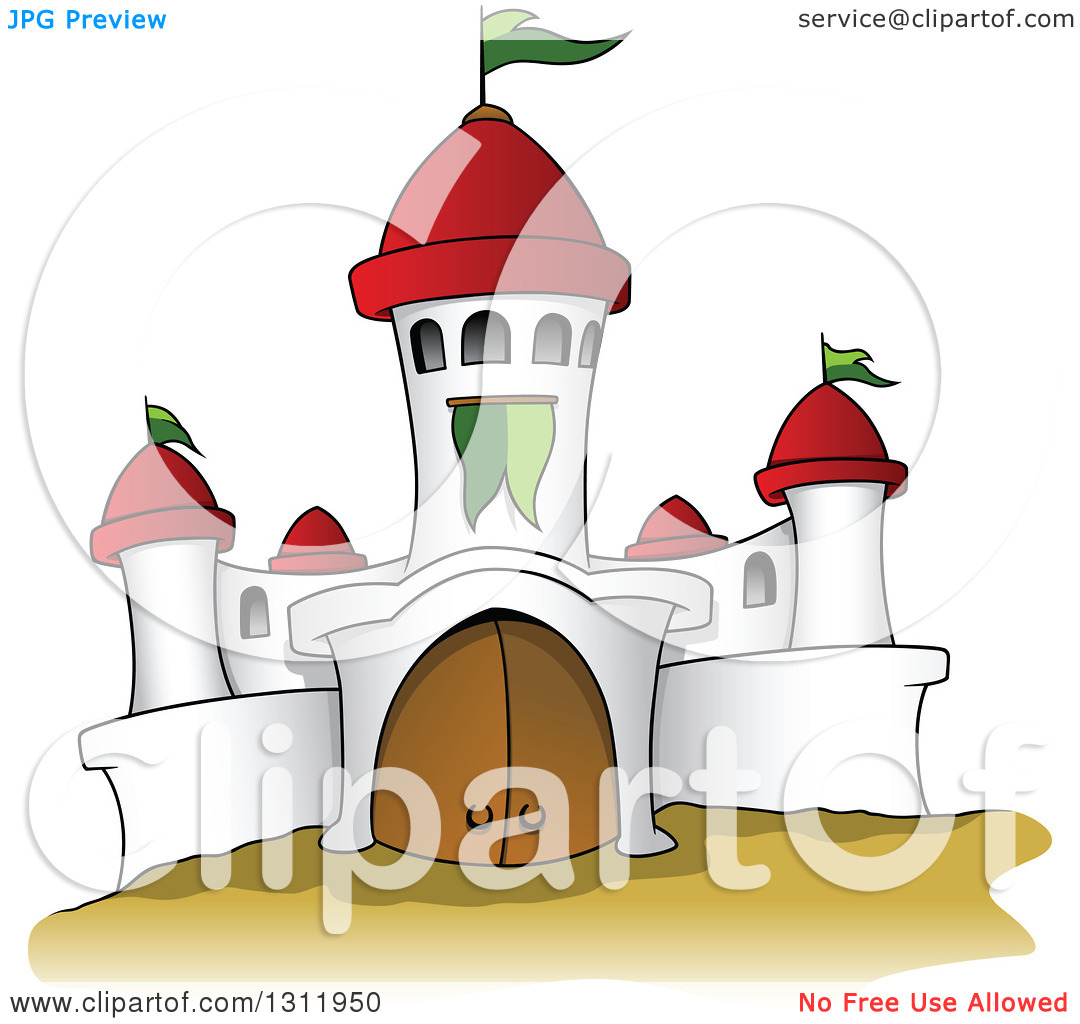 Clipart of a Cartoon White Castle with Red Turrets and Green Flags.