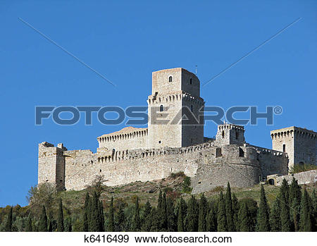 Stock Photograph of An ancient castle on a hillside in Assisi.