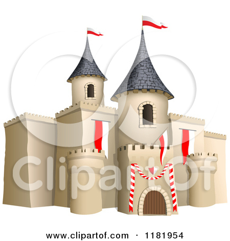 Clipart of a 3d Castle with Red and White Flags.