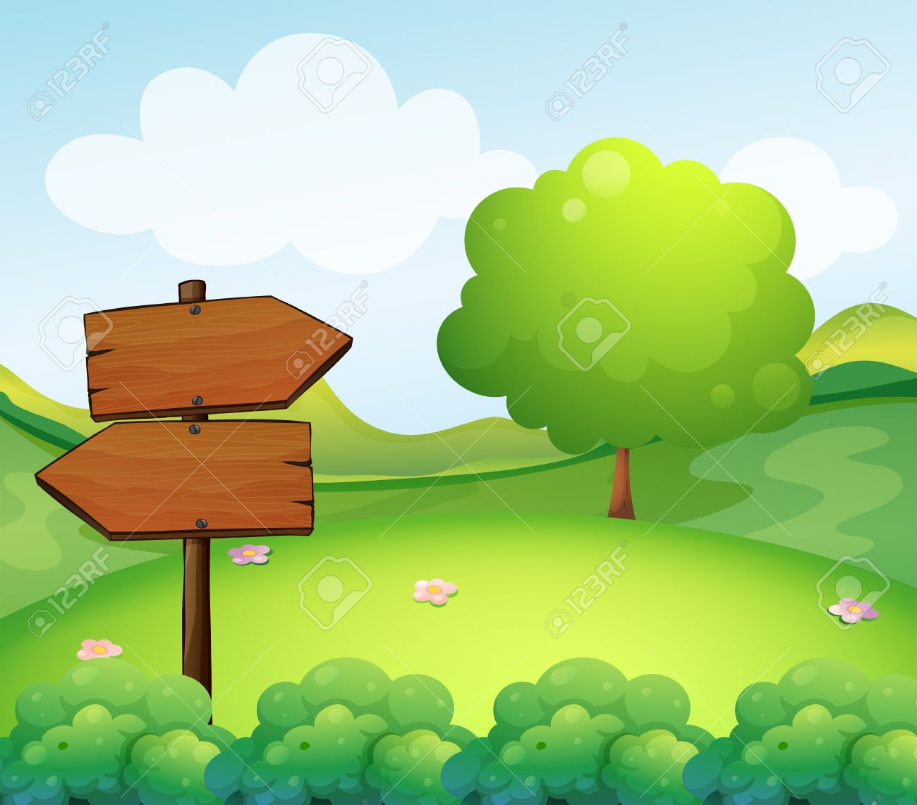 Illustration Of A Wooden Arrow Board In The Hill Royalty Free.