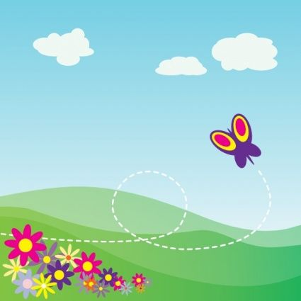Cartoon Hillside With Butterfly And Flowers clip art.