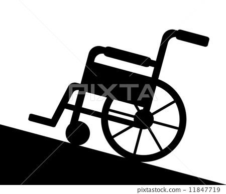 wheelchair, hill, slope.