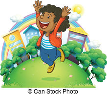 A very happy man at the hilltop Clipart Vector and Illustration. 1.