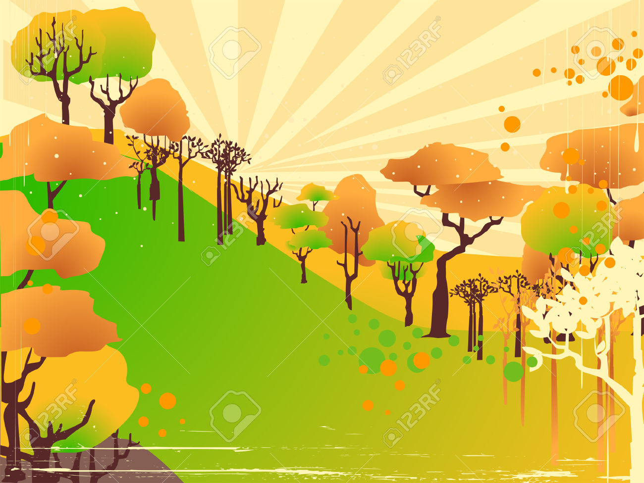 Trees On A Hilltop Illustration Royalty Free Cliparts, Vectors.