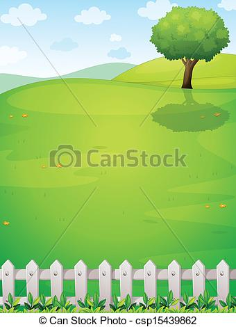 Clip Art Vector of A giant tree at the hilltop.