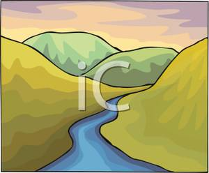 Hilly Landscape with a Stream.