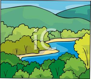 Winding River In the Hilly Forest Clip Art Image.