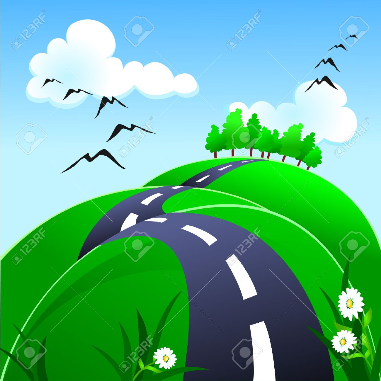Hilly road clipart.