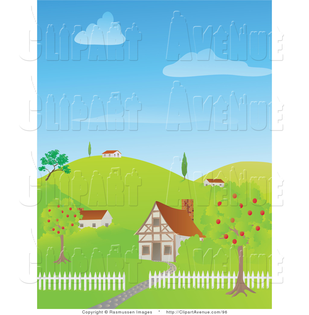 Avenue Clipart of Cute Houses on a Green Hilly Landscape by.