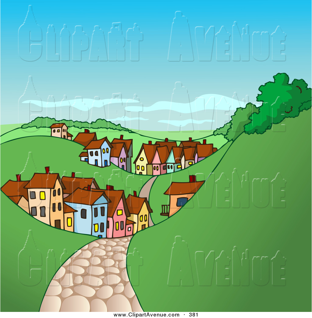 Avenue Clipart of a Brown Cobblestone Road Leading to a Village of.