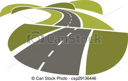 EPS Vector of Hilly road abstract icon on white.
