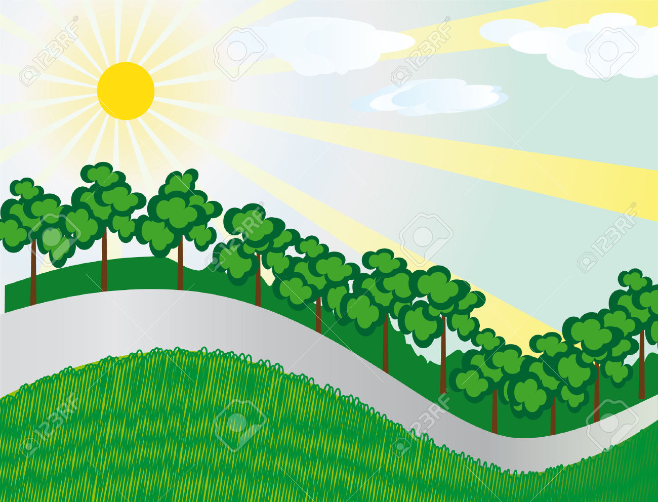 The Hilly Landscape With A Road. Royalty Free Cliparts, Vectors.