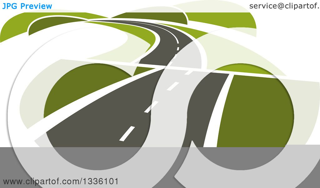 Clipart of a Curvy Hilly Road or Highway with Green Hills.