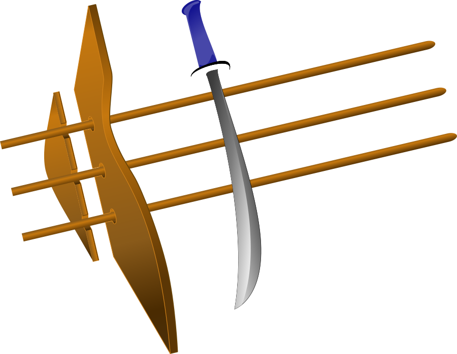 sword with blue hilt Clipart, vector clip art online, royalty free.