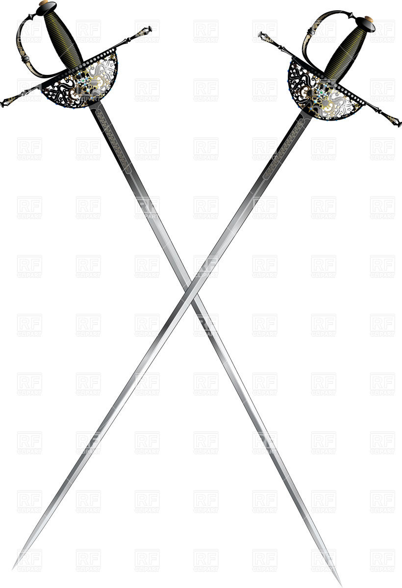 Two crossed rapiers with ornate hilt Vector Image #25194.