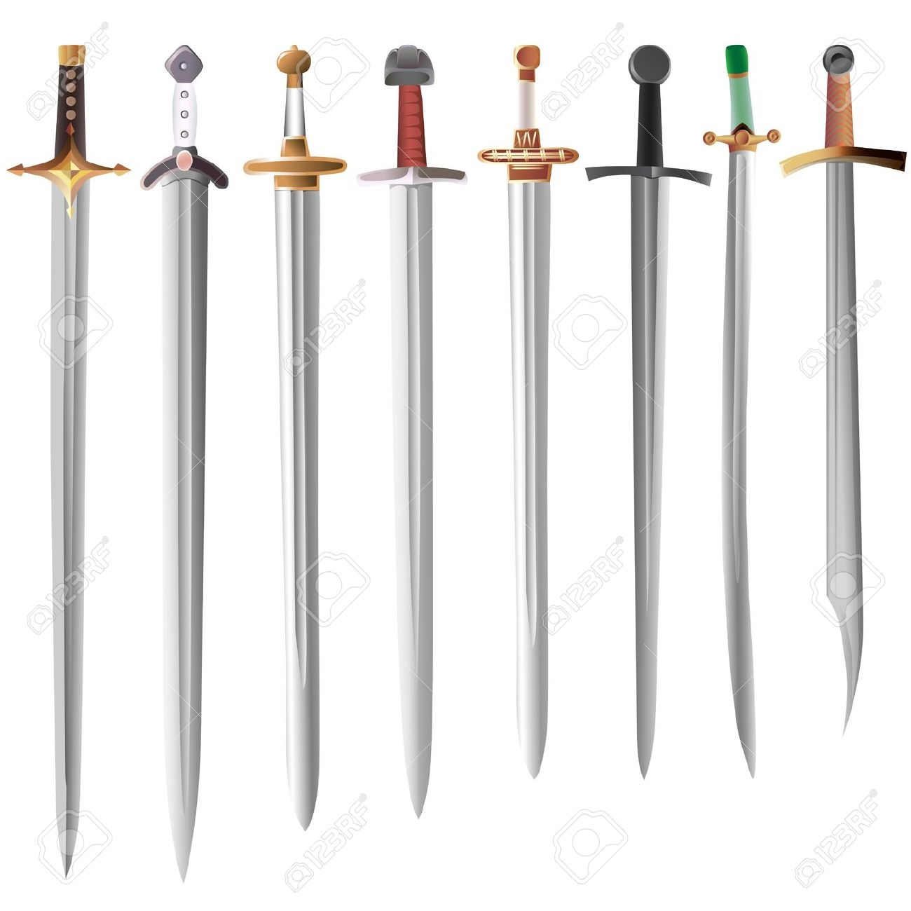 Set Of Medieval Swords With Different Hilts Royalty Free Cliparts.