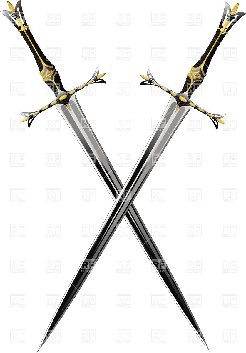 Two crossed antique swords with ornate hilts Vector Image #25222.