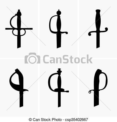 Clip Art Vector of Sword hilts.