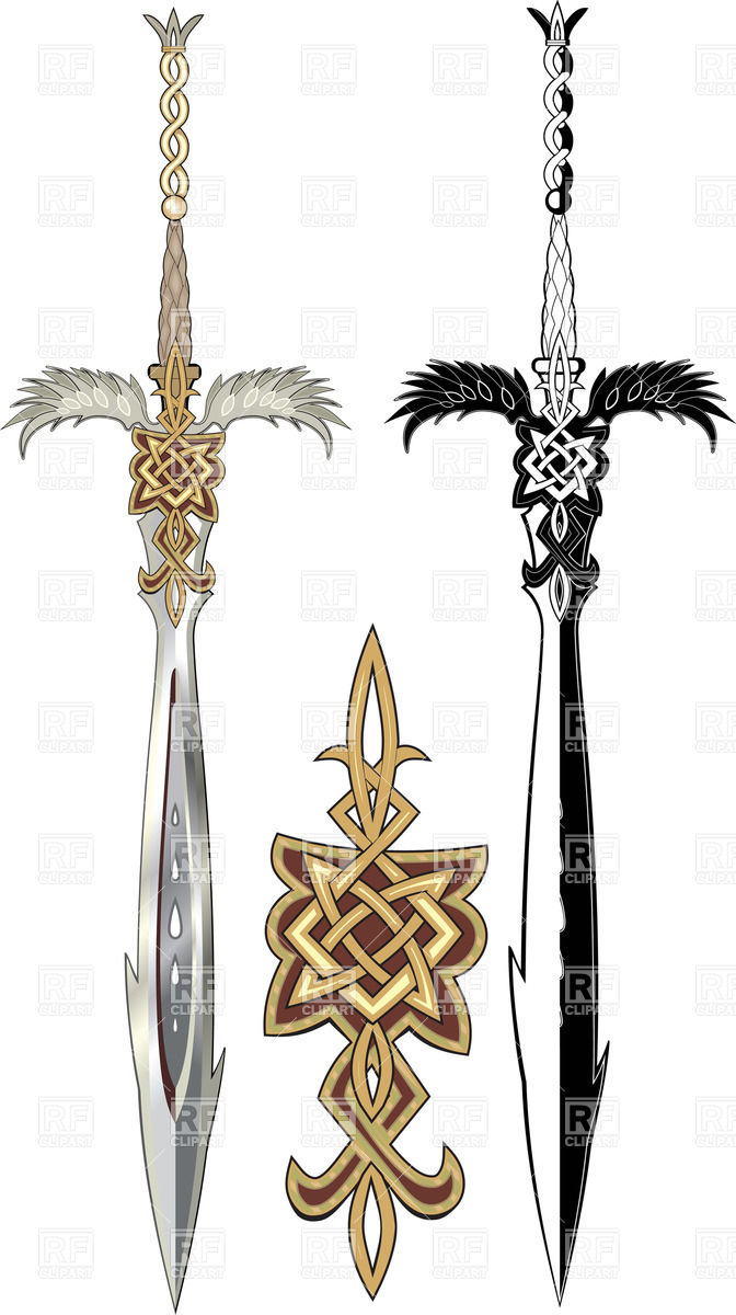 Two ornate swords with winged hilt Vector Image #25230.